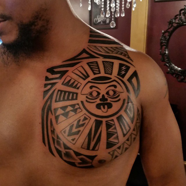 Pl tribal polynesian chest plate wip the 407 tattoo for Chest plate tattoos